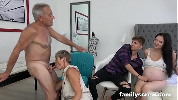 Pregnant Maid watching Family Fuck