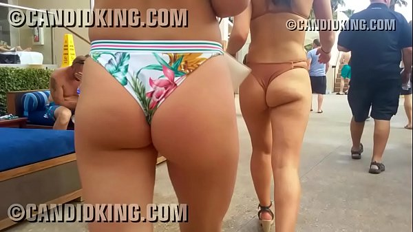 Pool party babes walking in tiny bikinis showing ass cheeks