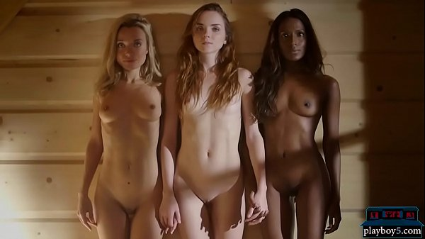 Two white and one black model together in a hot sauna Thumb