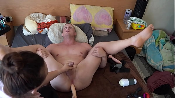 Fucking His Ass With My Toy Collection until Hands Free Prostate Cumshot