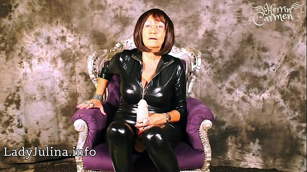 German Wetlook Catsuit Mistress Special Dildo JOI For Submissive Slaves
