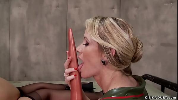 Blonde lesbian self anal toy then fuck