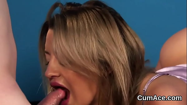 Peculiar babe gets cum load on her face sucking all the cum