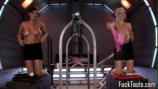 Toying lesbians spanking while machine fucked Thumb