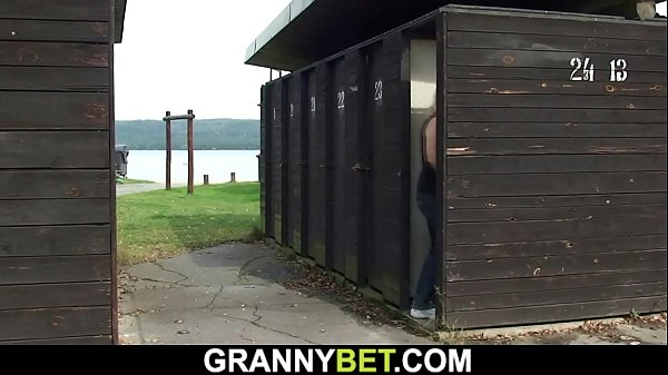 Old grandma gets fucked in the public changing room