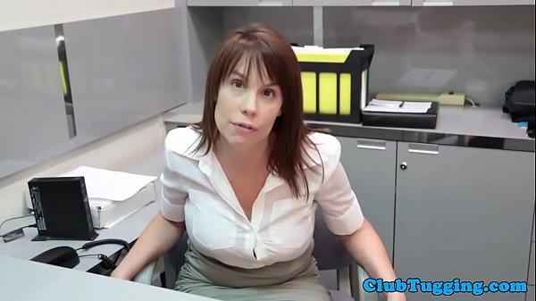 Bigboob amateur mature stroking cock