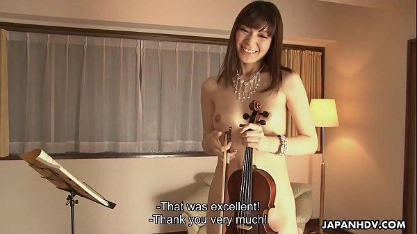 Horny Yuria Tominaga plays a violin and rubs he...