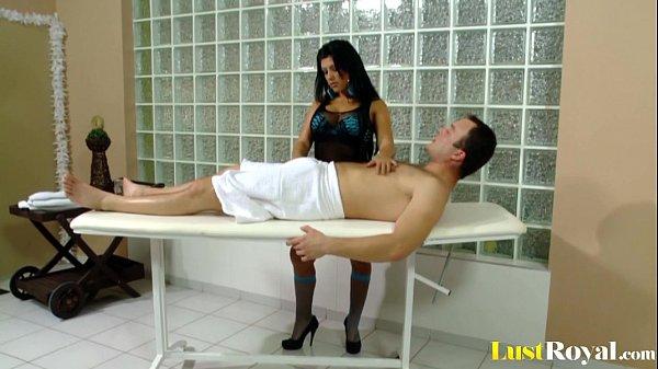 Chubby Amanda Black gets her tits covered
