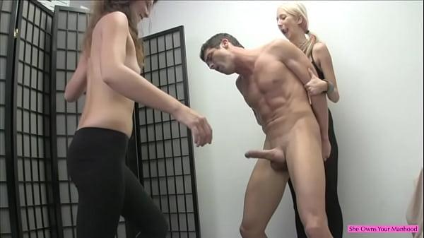 Hot Lesbians Break His Balls For Fun Part 2