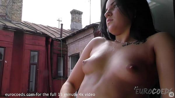 18yo milania smoking naked in bedroom window then showering