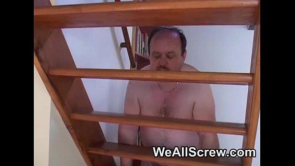 Nervous Indian sucks fat old mans cock