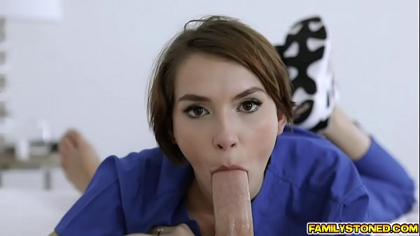 Horny nurse c. on her stepbros dick and slobbers all over it covering it with her saliva