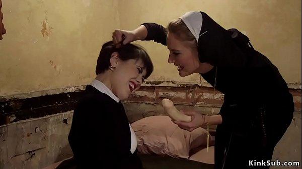 Brunette sister rimming lesbian nun Thumb