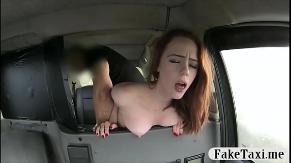 Redhead babe bent over and pounded hard for a free fare