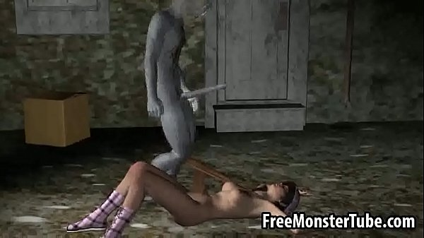 3D babe gets fucked in an alley by a honry zombie