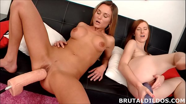 Blonde and redhead gape their holes with b. dildos