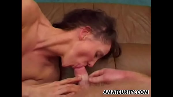 Naughty amateur Milf in a FMM threesome with cum