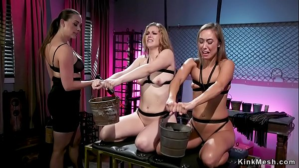 Lesbian dom makes babes anal fuck