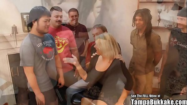 Tampa bukkake girls - Blonde big tits cheating Alabama cracker house wife gets interracial gangbang fucked in all 3 holes by group of dirty south Florida bukkake boys ft. Mell