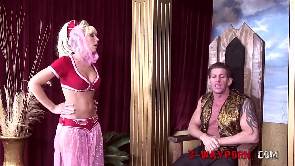 Busty Blonde Chicks from I Dream of Jeannie in a Threesome with her King