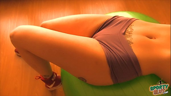 Booty Blonde Teen Working Out With FitBall. Tits n Cameltoe!