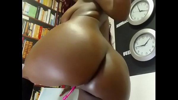 Ebony chick playing with her tits, pussy, asshole and sucking dildo