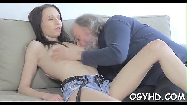 Horny young babe screwed by old lad  thumbnail
