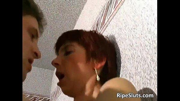 Horny mature redhead slut gets her cock