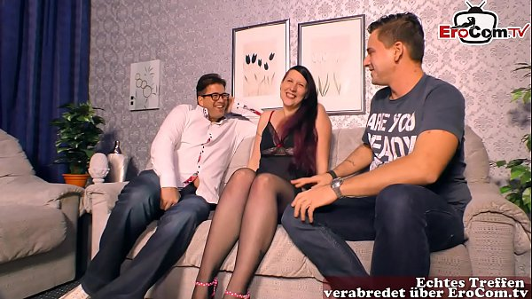 chubby german girlfriend get first time threeso...