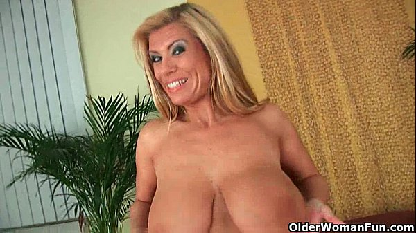 Gilf with big boobs strips off and gets fucked