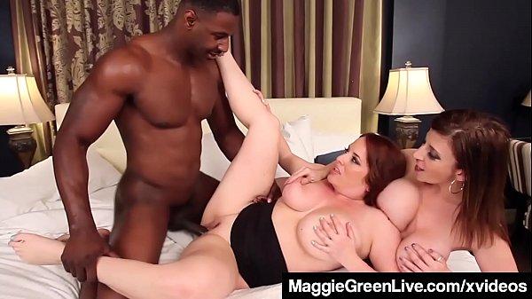 Curvy Blonde Maggie Green & Busty Milf Sara Jay Fuck A Cock