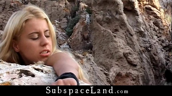 Busty blonde bound by a stone and fucked in doggie Thumb