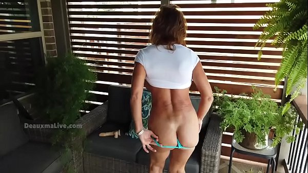 Deauxma in teal panties playing with her dildo