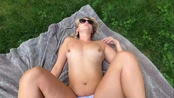 I pull my cock out and expose myself to nude milf sunbathing