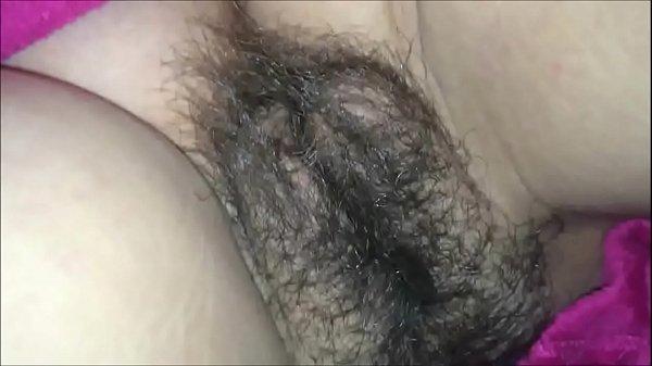 Hot Jizz All Over her Hairy Bush thumbnail