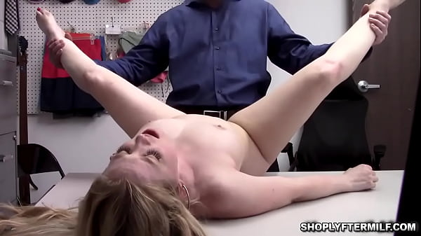 Pervy security guard commands the milf thief to fuck his cock