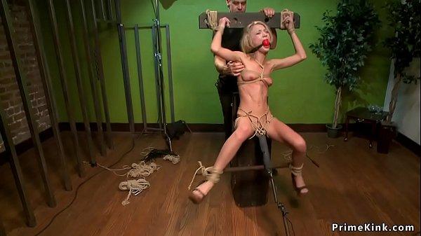 Little blonde slut is dp toyed in bdsm