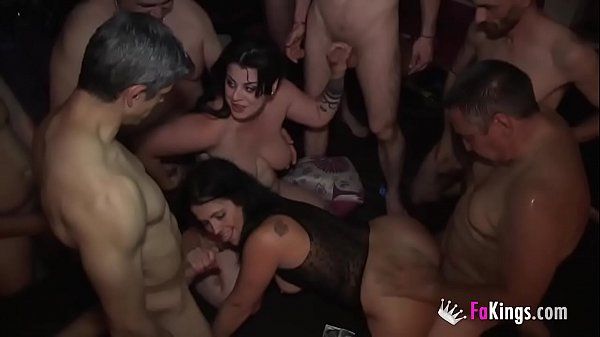 Gangbang. 11 stallions and another Swinger Party with Montse and Maria.