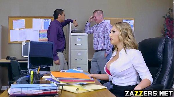 Boss man let Kagney Linn Karter suck his big cock