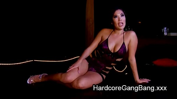 Busty Asian babe double penetration gangbanged