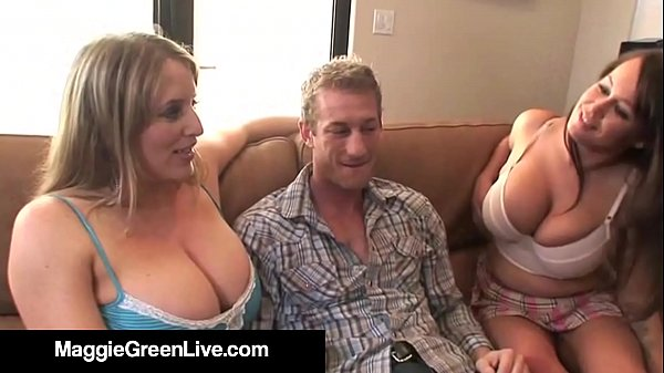 Natural Busty Maggie Green & Brandy Talore Get A Hard Cock