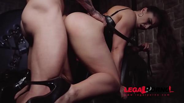 Dominatrix Marta La Croft rides masked man's throbbing dick in taboo cave GP409 Thumb