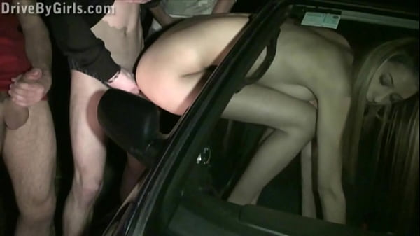 Kitty Jane car window PUBLIC gangbang with several guys