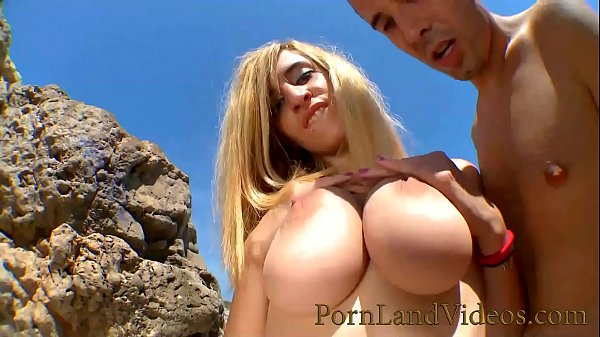 Slutty Blonde Girl with Big Natural Boobs Fucking on the beach