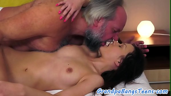 Teen doggystyle banged by lucky grandpa