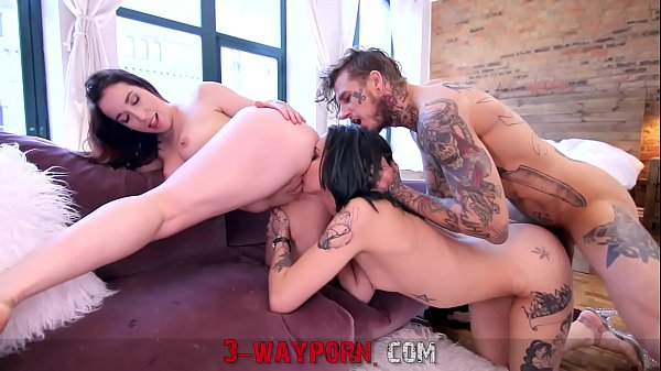 3-WayPorn - Biker Having A Treesome With Two Inked Babes