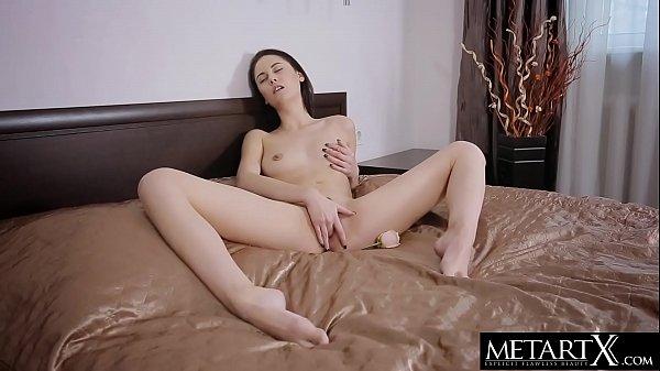 Nipples hard as diamonds when she masturbates to a noisy orgasm
