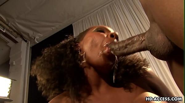 Ebony babe with big tits fucks and sucks
