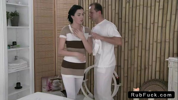 Brunette with nice ass rode masseur on table