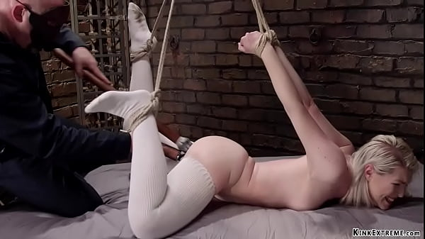Blonde slave toyed in hogtie bondage